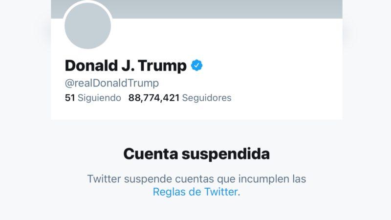 Suspenden cuenta de Trump en Twitter